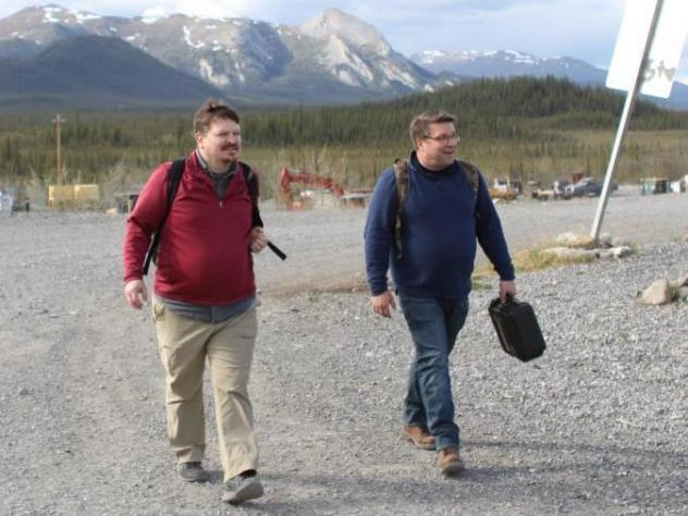 Joe Balash, left, after a meeting earlier this year in Arctic Village, where some oppose oil drilling in nearby Arctic National Wildlife Refuge.