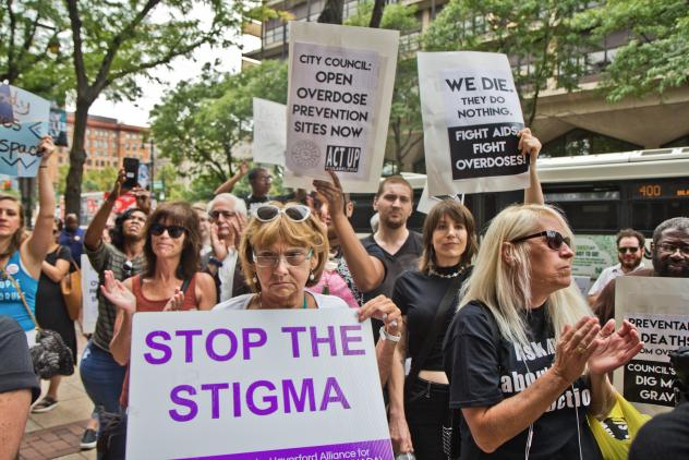 """Supporters of safe injection sites in Philadelphia rallied outside this week's federal hearing. The judge's ultimate ruling will determine if the proposed """"Safehouse"""" facility to prevent deaths from opioid overdose would violate the federal Controlled Su"""