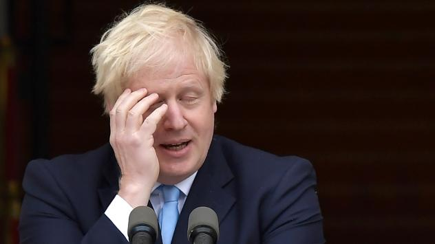British Prime Minister Boris Johnson, seen at a joint news conference Monday with Irish Taoiseach Leo Varadkar in Dublin. Johnson has suffered a rough couple of weeks, as lawmakers scuttled first his attempt to maintain a hard Brexit deadline — then, h