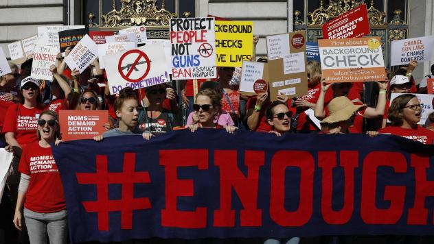The NRA says San Francisco lawmakers went too far in declaring it a terrorist organization. Here, members of Moms Demand Action for Gun Sense in America take part in a rally against gun violence held at San Francisco City Hall in August.