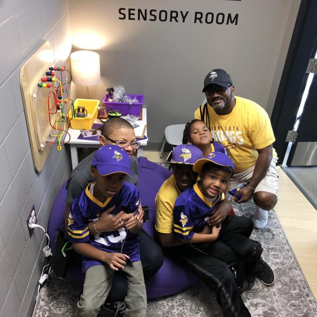 Sheletta and Shawn Brundidge, alongside their four children, were the first fans to use the sensory room at the Minnesota Vikings' U.S. Bank Stadium. Opened during the August pre-season, the space comes with trained therapists and provides fans, includin