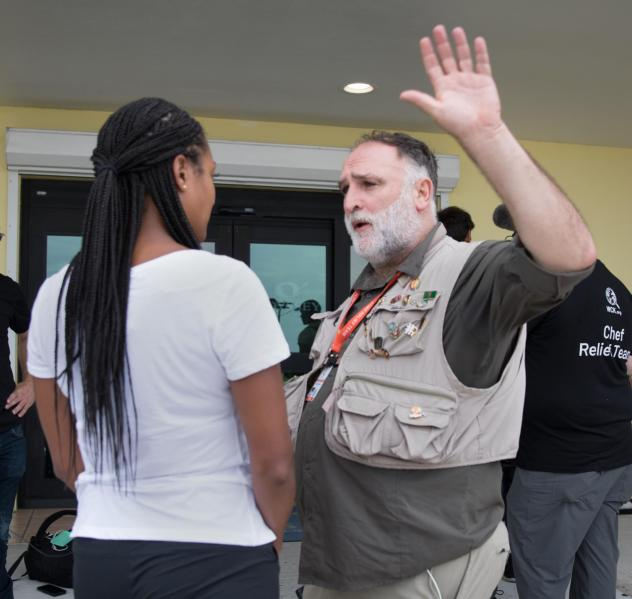 Reknowned chef José Andrés (right) is interviewed by ABC News last week in the Bahamian capital, Nassau, before heading to the Abaco Islands to deliver food to people stranded left by Hurricane Dorian.