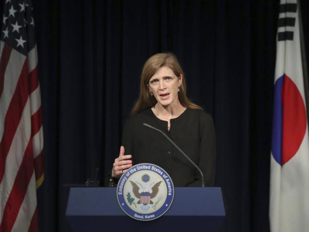 Then U.S. Ambassador to the U.N. Samantha Power answers a reporter's question during a news conference in Seoul, South Korea on Oct. 9, 2016.