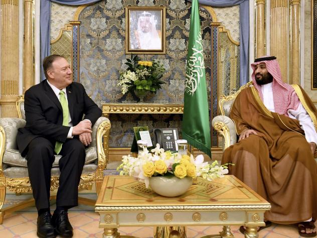 Secretary of State Mike Pompeo, left, meets with Saudi Arabia's Crown Prince Mohammed bin Salman in Jeddah, Saudi Arabia, on Wednesday. Saudi Arabia and the United Arab Emirates have both agreed to join a U.S.-led maritime contingent to protect Gulf ship