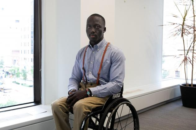 Wheelchair basketball player, Malat Lueth Wei, 25, is featured in the short documentary<em> No Limits</em> about bringing the sport to South Sudan.