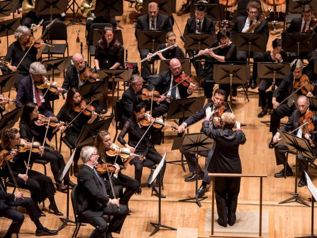 Marin Alsop leads the Baltimore Symphony Orchestra. On Monday, management and musicians announced a new one-year contract, ending a bitter labor dispute.