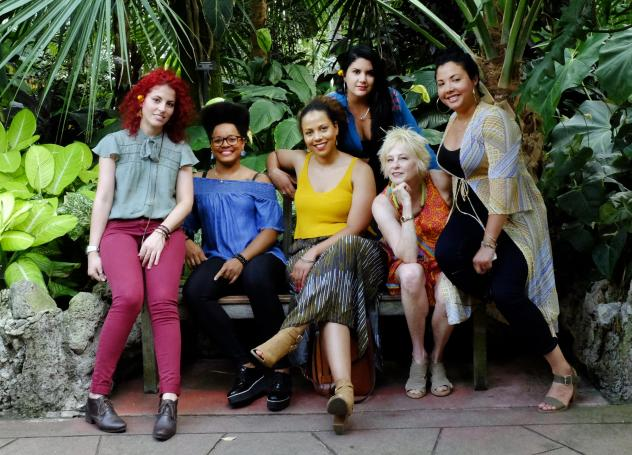 Musician Jane Bunnett, seated second from right, and her band Maqueque.
