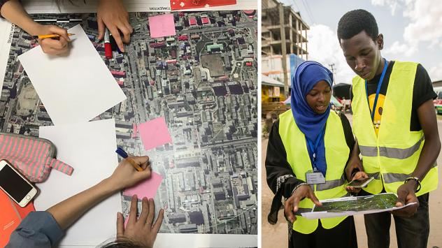 """Left: Volunteers take part in a """"mapathon"""" organized by the Humanitarian OpenStreetMap Team. Right: OpenStreetMap contributors pinpoint dump sites along rivers and waterways in Dar es Salaam in an effort to predict and prevent flooding in the Tanzanian c"""