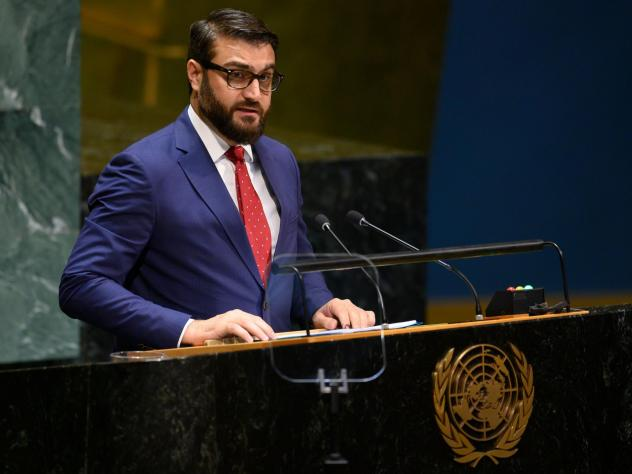 Hamdullah Mohib, Afghanistan's national security adviser, speaks during the United Nations General Assembly in New York City on Monday. After U.S.-Taliban talks excluded Afghanistan's government and collapsed last month, Mohib tells NPR that the only way