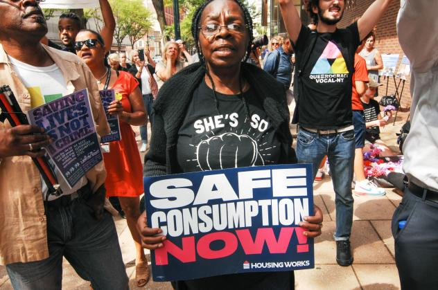 Advocates for safe injection sites rallied in front of the James A Byrne Federal Courthouse in Center City to show their support for evidence-based harm reduction policies, an end to the dehumanization of people suffering from addiction and the opening o