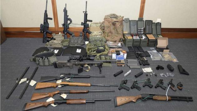 Firearms and ammunition found at Christopher Hasson's residence.