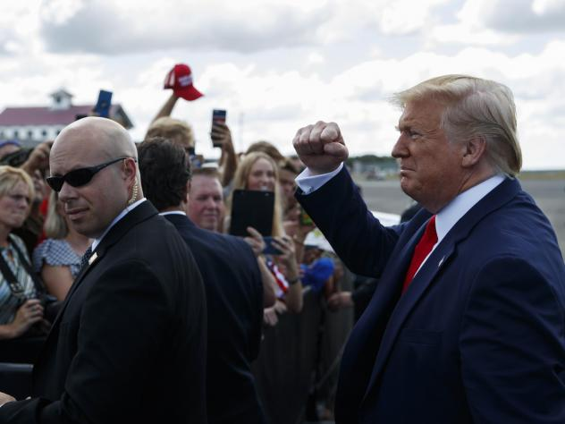 President Trump greets supporters after arriving at Florida's Ocala International Airport on Thursday to give a speech on health care at The Villages retirement community. In his speech, Trump gave seniors a pep talk about what he wants to do for Medicar