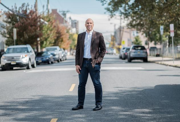 Senator and 2020 presidential candidate Cory Booker is seen outside of Vonda's Kitchen in Newark, N.J. on Oct. 12, 2019, ahead of an NPR-moderated discussion with voters.