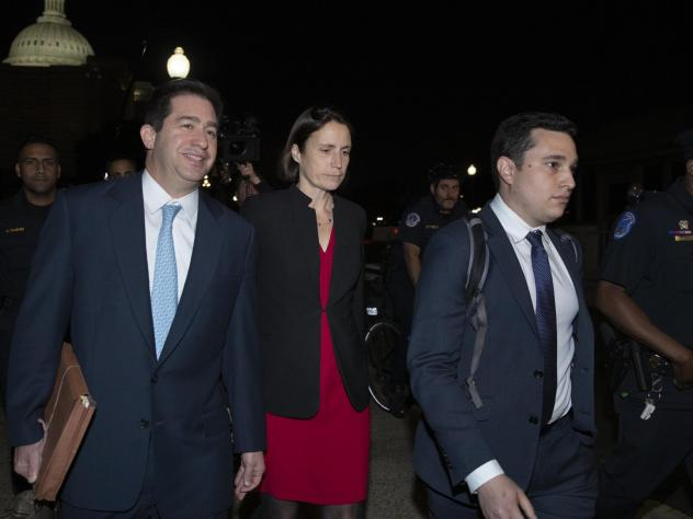 Former White House adviser on Russia Fiona Hill leaves the Capitol on Monday after testifying before lawmakers as part of the House impeachment inquiry into President Trump.
