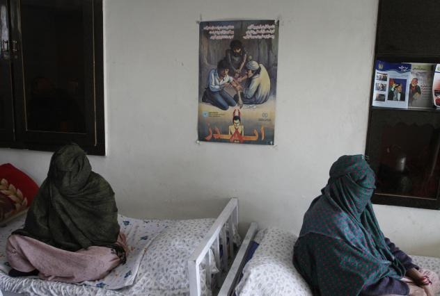 Their faces covered, addicted women are photographed at a drug treatment center in Kabul, Afghanistan.