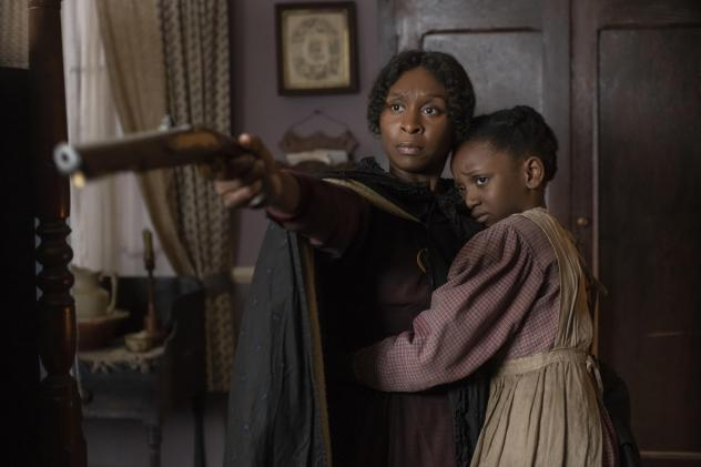 Cynthia Erivo (left) stars as Harriet Tubman along with Aria Brooks (right).