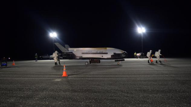 The U.S. Air Force's X-37B Orbital Test Vehicle Mission 5 is seen after landing at NASA's Kennedy Space Center Shuttle Landing Facility in Florida on Sunday.