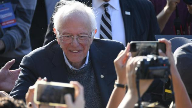 Democratic Presidential hopeful Sen. Bernie Sanders greets supporters during a rally in Queens, N.Y., earlier this month.