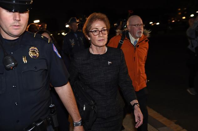 Former U.S. Ambassador to Ukraine Marie Yovanovitch, flanked by lawyers, aides and Capitol police, leaves the Capitol on Oct. 11 after testifying behind closed doors to the House Intelligence, Foreign Affairs and Oversight committees as part of the ongoi