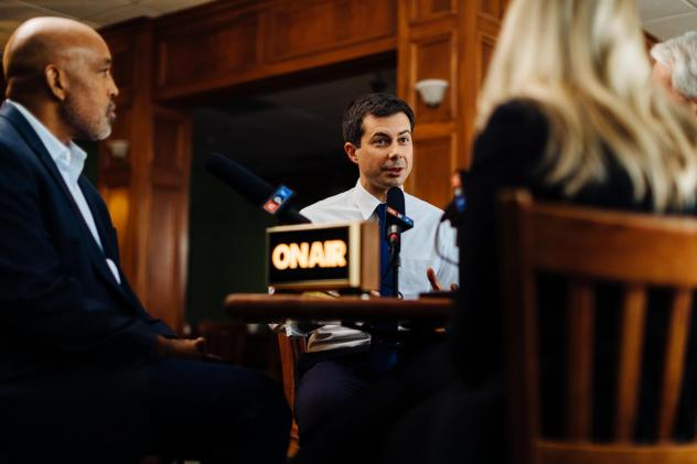 Mayor Pete Buttigieg is interviewed at Pegg's Diner in South Bend, Indiana.