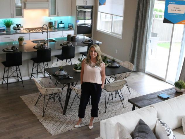 """Lennar New Home Consultant Brittney Svach is selling """"smart homes"""" at the Amazon Experience Center in Black Diamond, Washington, about an hour south of Seattle."""