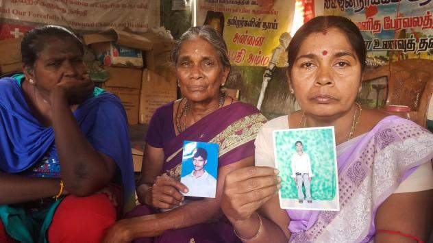 Ilagan Udaya Kumari (from left), 50, whose husband went missing; Analaxmi Ariaratnam, 70, whose son disappeared; and Sangara Pilay Vanalogini, 53, whose son went missing. Mothers and other relatives of some of the tens of thousands of people who disappea