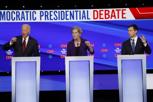 Democratic presidential candidates former Vice President Joe Biden (left), Sen. Elizabeth Warren, D-Mass., and South Bend, Ind., Mayor Pete Buttigieg (right) debate different ways to expand health coverage in America.