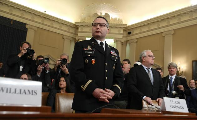 Lt. Col. Alexander Vindman, National Security Council director for European Affairs, arrives to testify before the House Intelligence Committee on Capitol Hill on Tuesday.