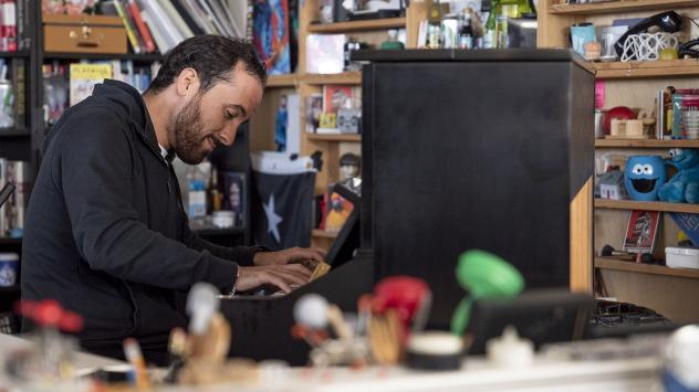 Igor Levit performs during a Tiny Desk concert, on Oct. 15, 2019. (Mhari Shaw/NPR)