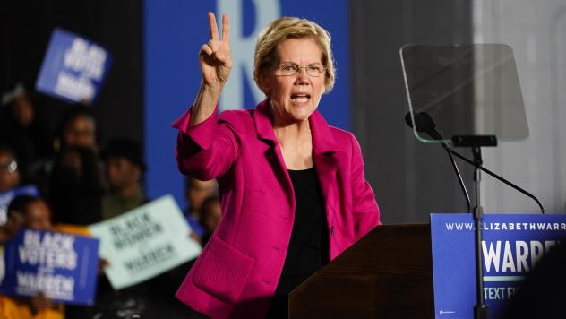 Warren's two-cent wealth tax on people with over $50 million in wealth is one of her signature policy issues, and one that draws big cheers on the stump.
