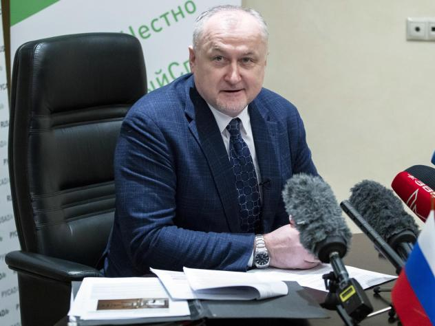 Russian National Anti-Doping Agency head Yuri Ganus speaks to reporters in Moscow in January.