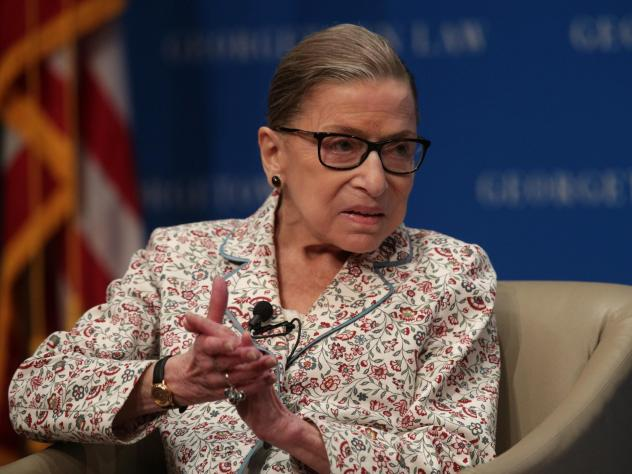 Supreme Court Associate Justice Ruth Bader Ginsburg participates in a discussion at Georgetown University Law Center on July 2, 2019.