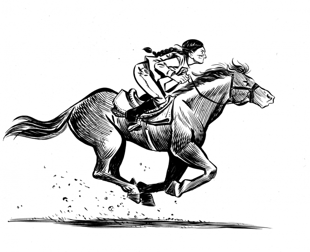 The graphic novel <em>Grand Theft Horse</em> tells the story of a trainer who rescues a horse from its villainous owner. Based on actual events, journalist Taylor Haney set out to learn how much of the story is true. Above, a scene from the novel.