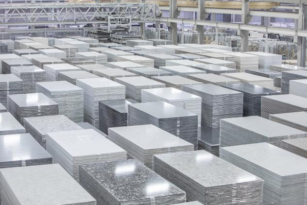 The Cambria factory in Minnesota manufactures slabs of engineered quartz for kitchen and bathroom countertops. If businesses don't follow worker protection rules, cutting these slabs to fit customers'<strong> </strong>kitchens can release lung-damaging s