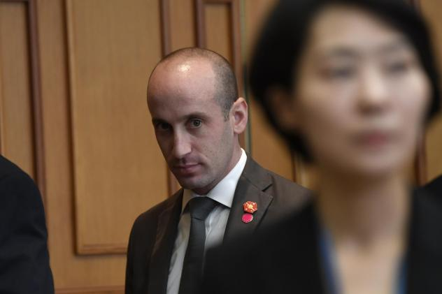White House senior policy adviser Stephen Miller waits for the start of a meeting with President Donald Trump and South Korean President Moon Jae-in at the Blue House in Seoul in June.