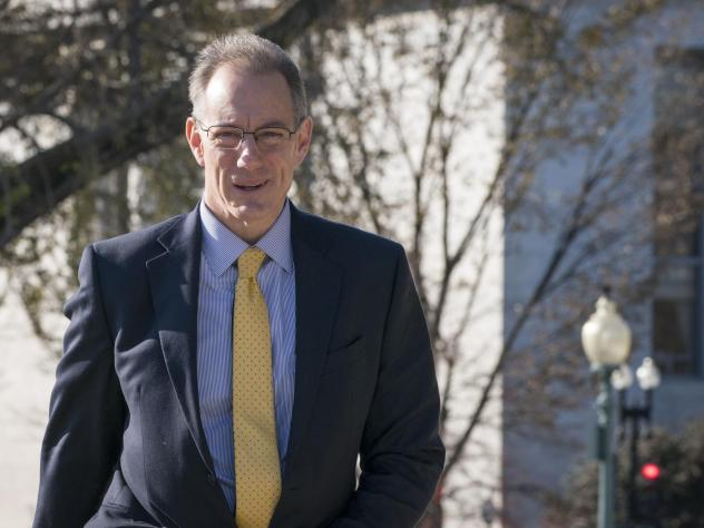 Mark Sandy, from the Office of Management and Budget, arrives to the U.S. Capitol earlier this month for a deposition regarding whether President Trump ordered a hold on military assistance to Ukraine.