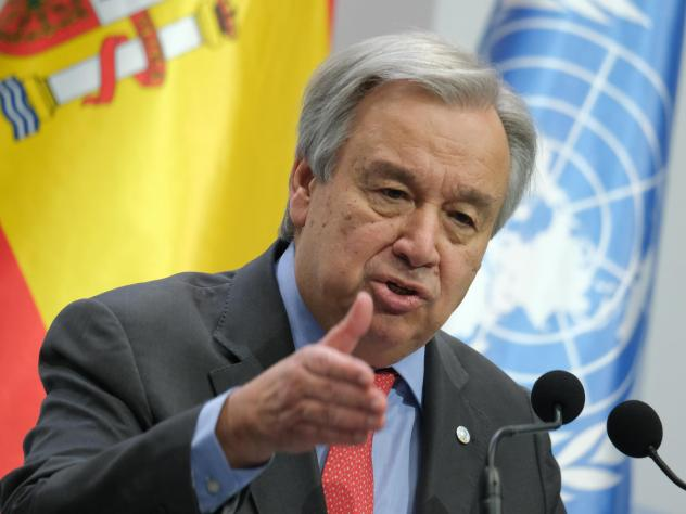 """United Nations Secretary-General António Guterres at the opening day of the COP25 climate conference on Monday in Madrid. """"Do we really want to be remembered as the generation that buried its head in the sand? That fiddled while the planet burned?"""" he s"""