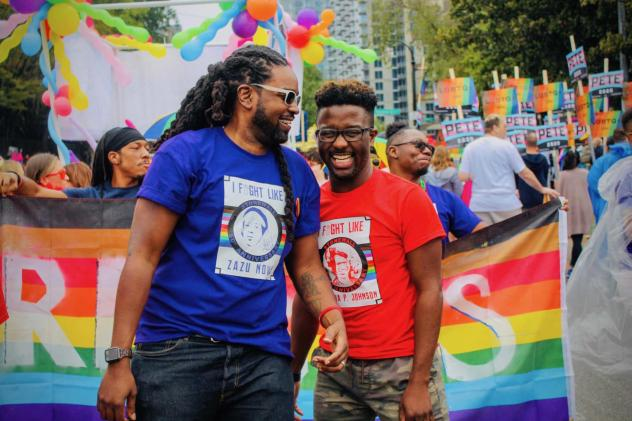 Larry Scott-Walker and Daniel Driffin, two of Thrive SS' co-founders, at this year's gay pride parade in Atlanta.