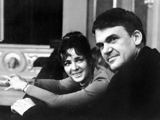 Milan Kundera is seen with his wife Vera Hrabankov in Prague in 1973, two years before they emigrated.