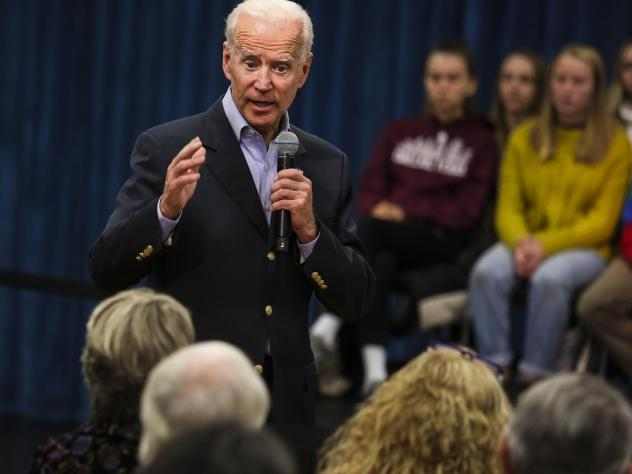 """Former Vice President Joe Biden at a town hall last month. On Thursday, Biden got into a heated exchange with an Iowa voter, calling the man a """"damn liar."""""""
