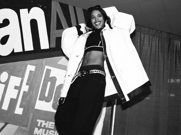 The late R&B singer Aaliyah, posing backstage at New York's Madison Square Garden in 1995.