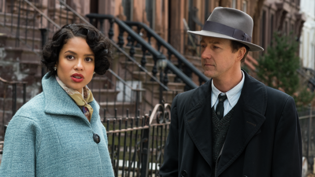 "Edward Norton (shown here with co-star Gugu Mbatha-Raw) describes his <em>Motherless Brooklyn</em> character as a sad and lonely ""street kid."""