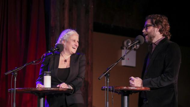 Paula Cole and Jonathan Coulton play a game on <em>Ask Me Another</em> at the Bell House in Brooklyn, New York.