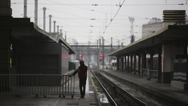 The Gare de Lyon railway station in Paris, typically brimming with busy travelers, stands empty Friday as general strikes snarled transportation across France for a second day.