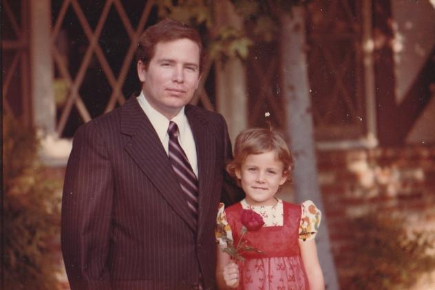 Stephanie Hofeller stands with her father, Thomas, for a family photo in California during the 1970s. Republicans fought to stop computer files found on the redistricting expert's hard drives from going public — now Stephanie is sharing them online.