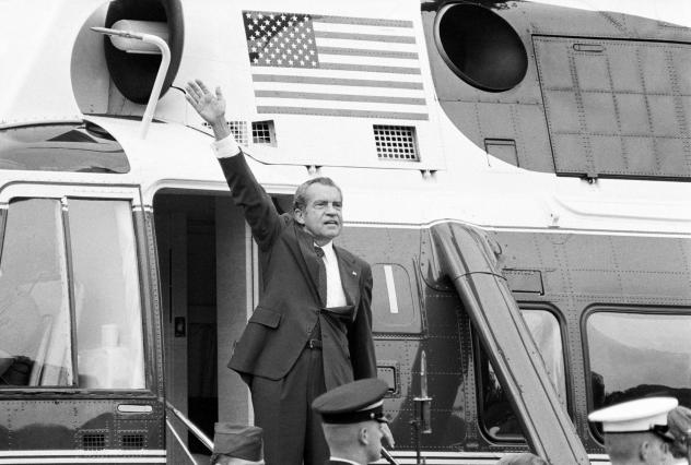 President Nixon waves outside the White House after his farewell address Aug. 9, 1974.