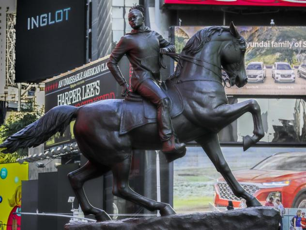 Kehinde Wiley's statue <em>Rumors of War</em> spent several weeks at New York's Times Square in late September. The work was unveiled Tuesday in Richmond as a permanent installation.