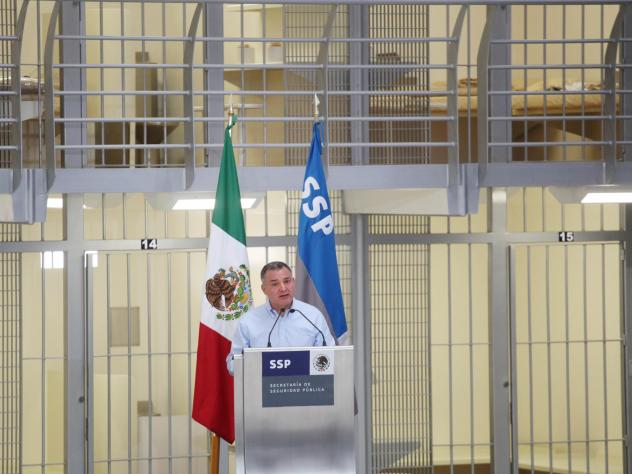 Genaro Garcia Luna delivers a speech in 2012 to mark the expansion of a federal prison. He served as Secretary of Public Security from 2006 to 2012.