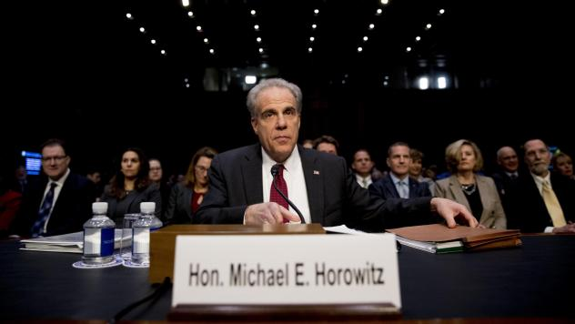 Department of Justice Inspector General Michael Horowitz arrives for a Senate Judiciary Committee hearing on the Inspector General's report on Capitol Hill on Wednesday.