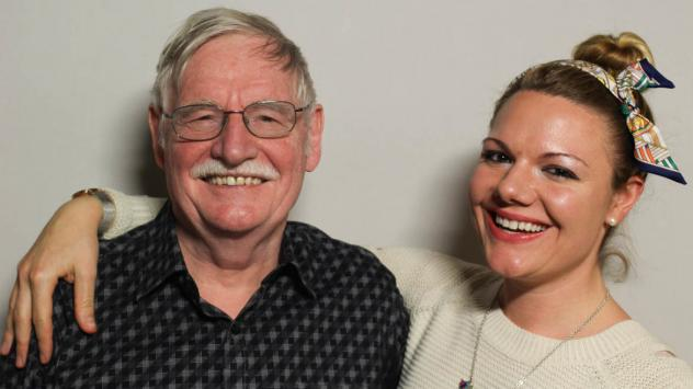 Edward Kibblewhite and his daughter, Jessica, at StoryCorps in Chicago in October 2018. Jessica says that the StoryCorps conversation played a big role in her decision to try to start a family.